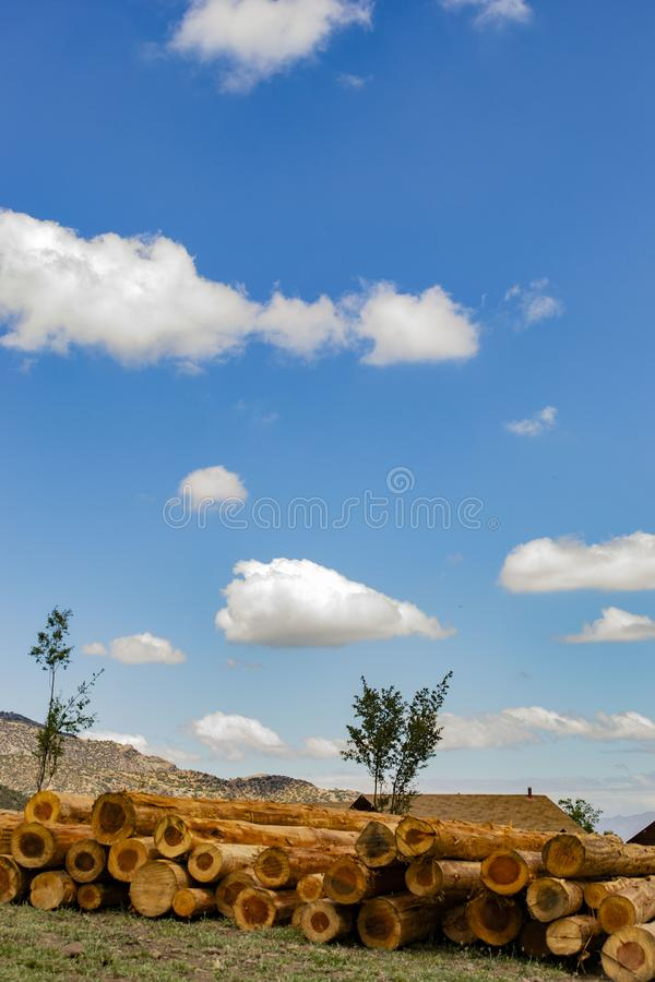 Staplungsklotz gegen den Himmel stockfotografie
