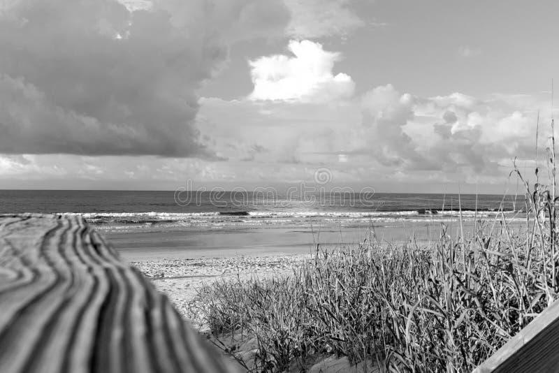 Stappen aan de kustlijn in zwart-wit stock foto's