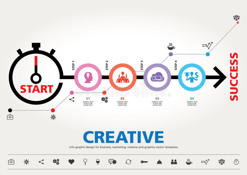 Stappen aan het moderne informatie-grafische ontwerp van het succesmalplaatje vector illustratie