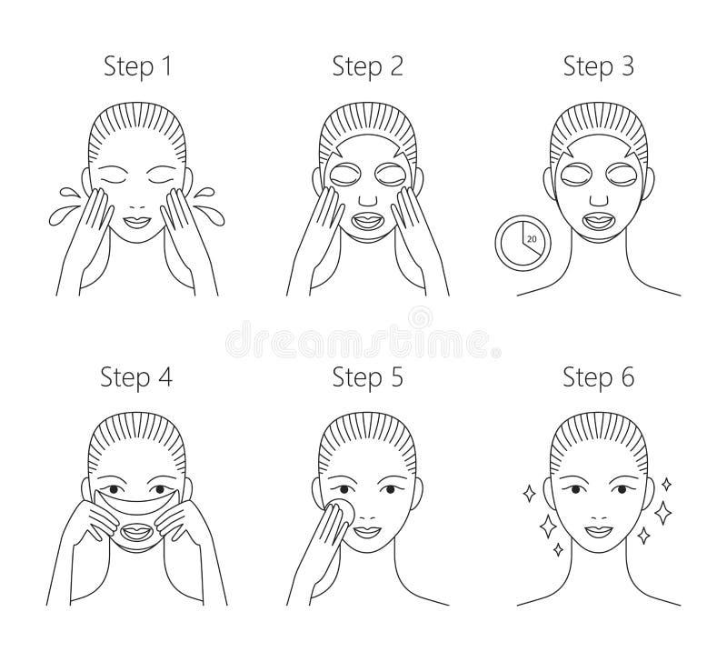 Stappen hoe te om gezichtsmasker toe te passen Vectorillustratiesse stock illustratie