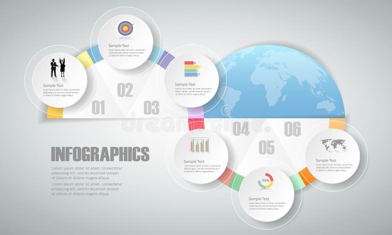 6 stappen infographic malplaatje kan voor werkschemalay-out, diagram worden gebruikt vector illustratie