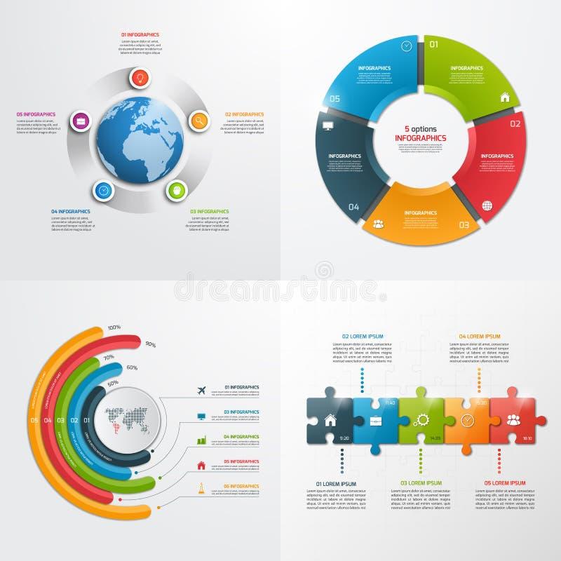 5 stappen vector infographic malplaatjes stock illustratie