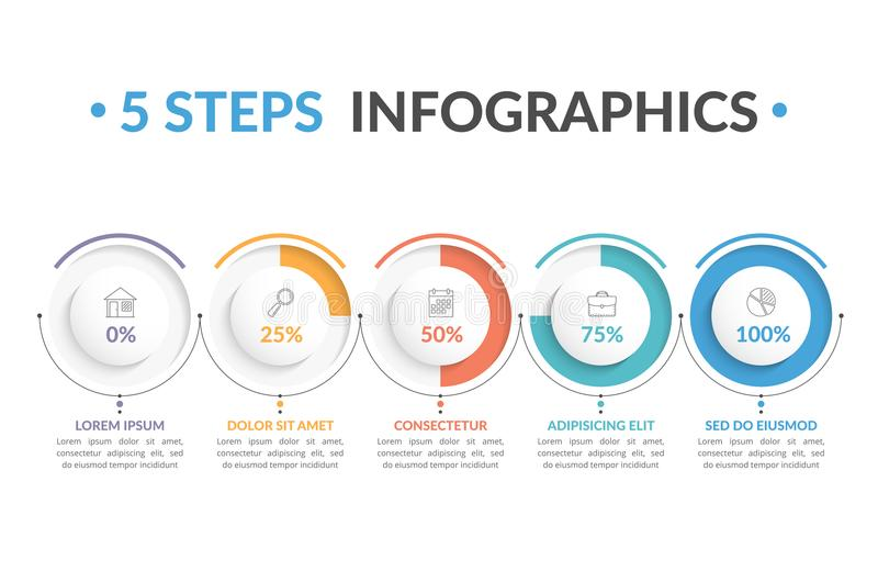 5 stappeninfographics vector illustratie