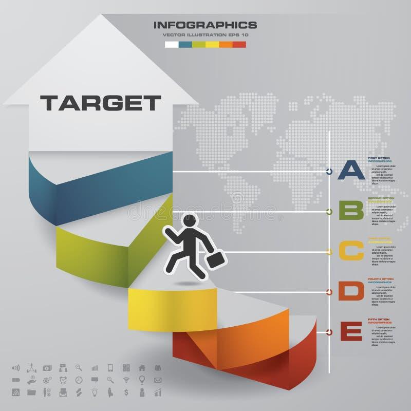 5 stappenmalplaatje voor presentatie mens die op tredengebruik lopen voor Infographics-ontwerp met 5 optieschronologie royalty-vrije illustratie