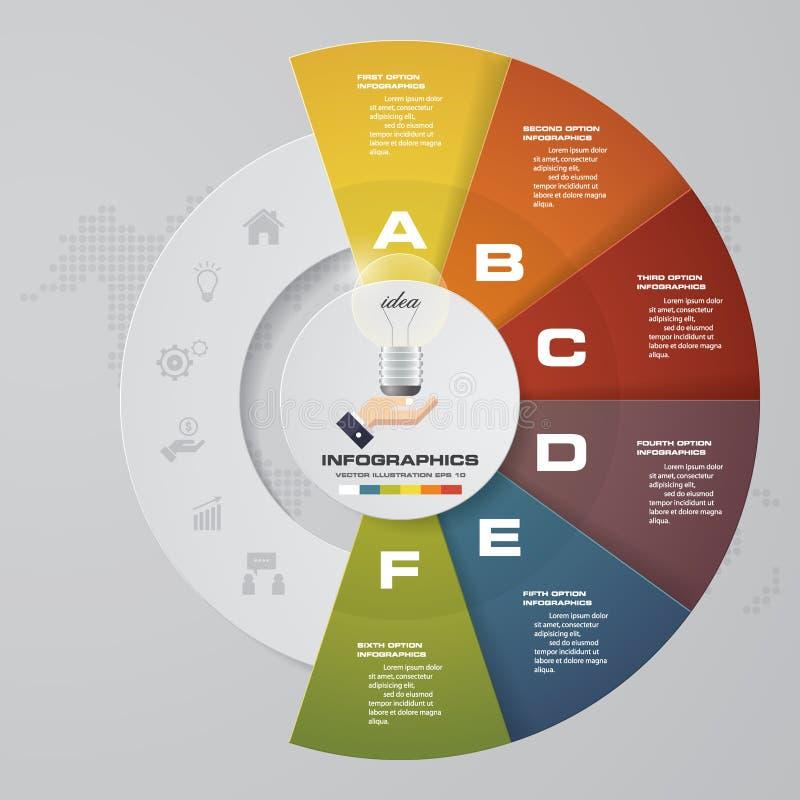 6 stappenproces Element van het Simple&Editable het abstracte ontwerp Vector vector illustratie
