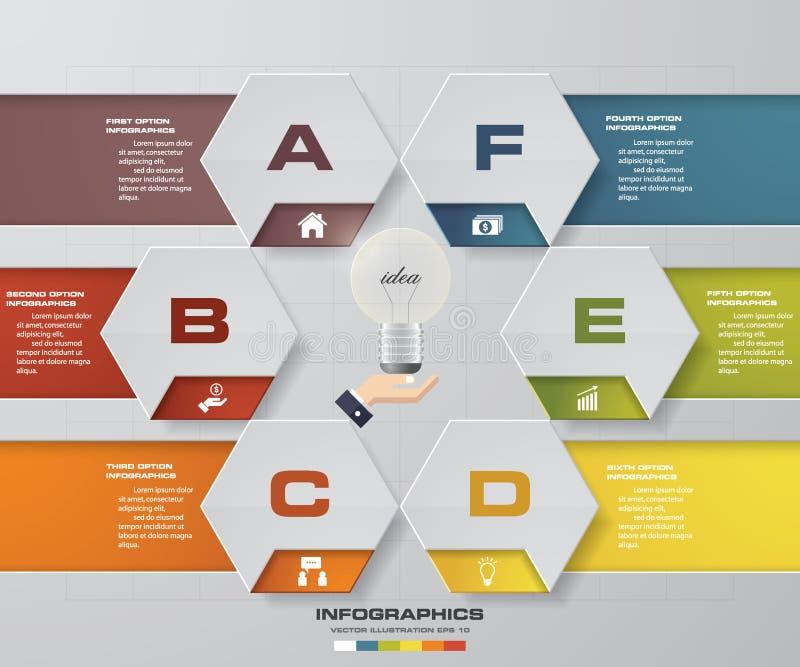 6 stappenproces Element van het Simple&Editable het abstracte ontwerp Vector stock illustratie