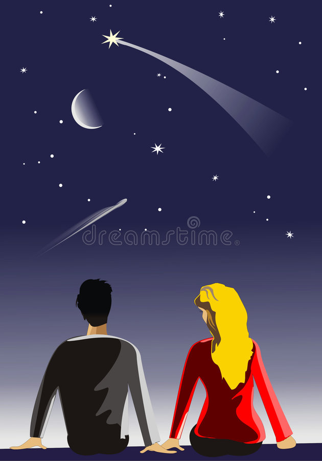 Star. The boy and the girl look at stars royalty free illustration