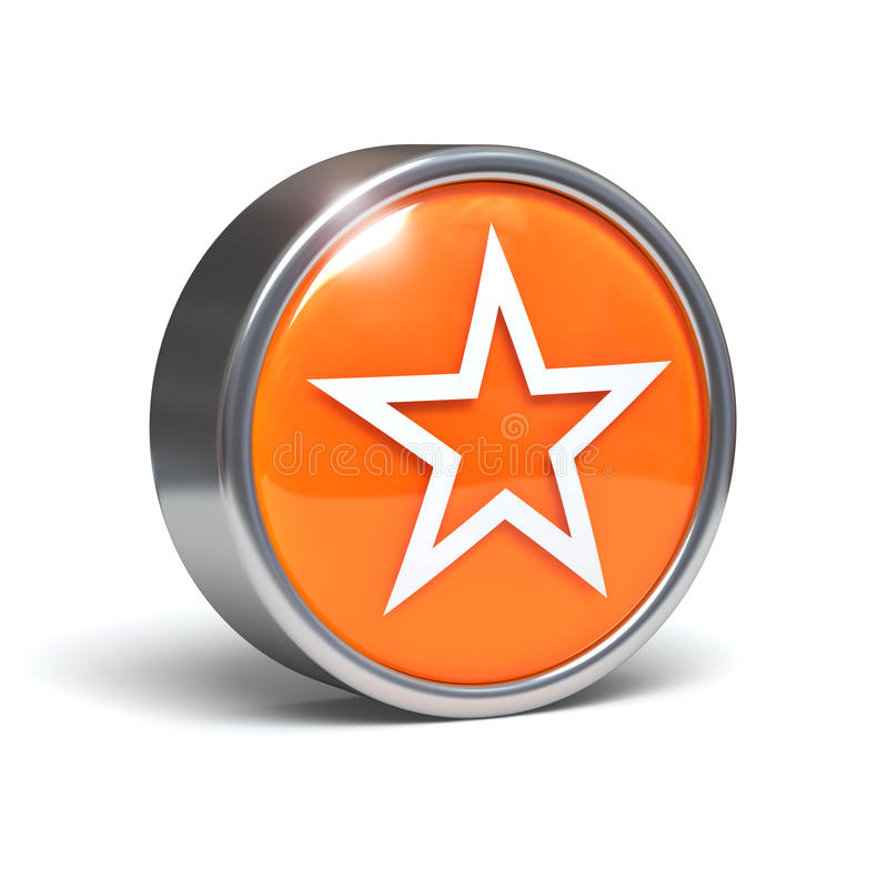 Star - 3D button. With clipping path vector illustration
