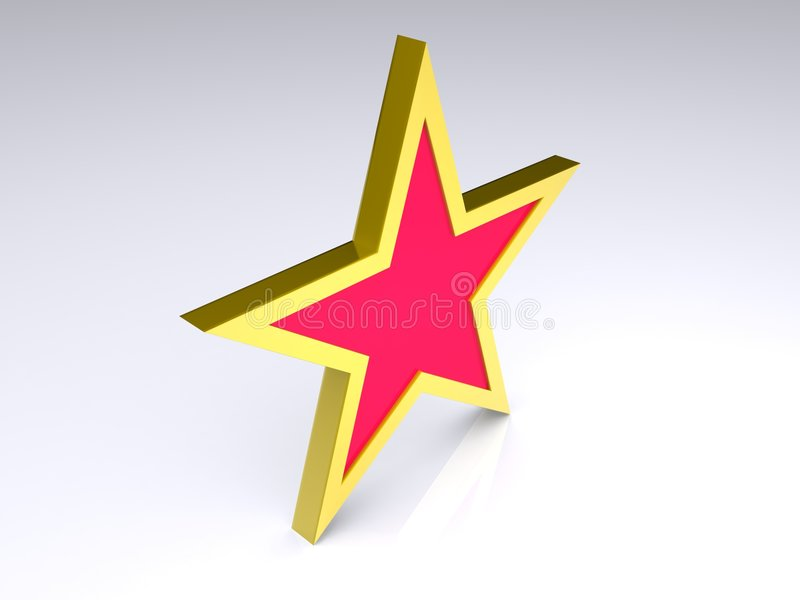 Star. 3D gold framed red star isolated on white background royalty free illustration