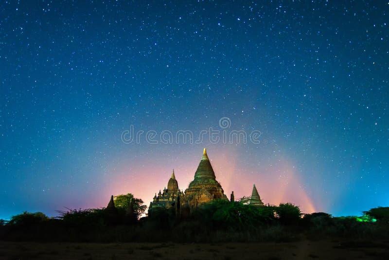 Star above ancient pagoda. In Bagan , Myanmar royalty free stock photos