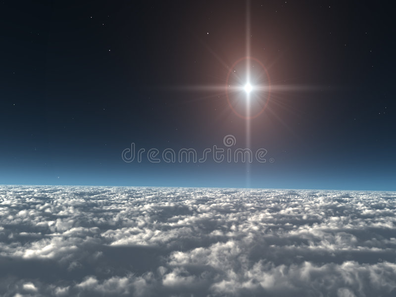 Download Star above the Clouds stock illustration. Image of rendered - 3774523