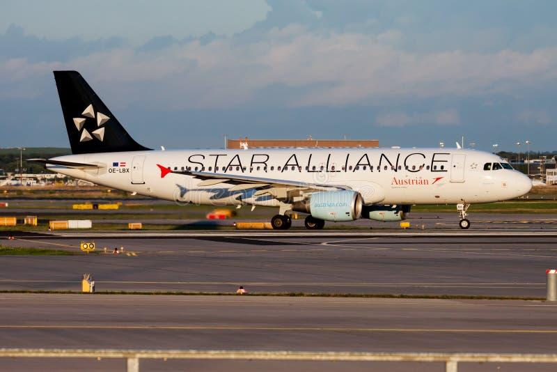 Star Alliance Austrian Airlines Airbus A320 OE-LBX passenger plane departure at Frankfurt airport. FRANKFURT / GERMANY - AUGUST 18, 2014: Star Alliance Austrian stock images