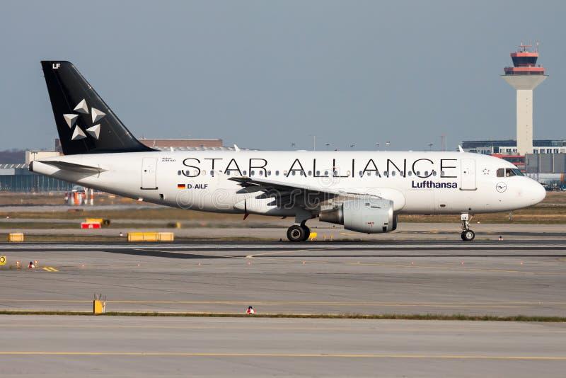 Star Alliance Lufthansa Airbus A319 D-AILF passenger plane departure at Frankfurt Airport. FRANKFURT / GERMANY - APRIL 10, 2015: Star Alliance Lufthansa Airbus stock photo