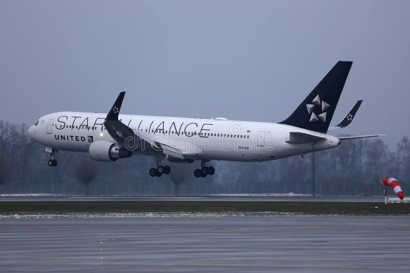 Star Alliance United Airlines doing taxi on Munich Airport, MUC. United Airlines doing taxi on Munich Airport, MUC, Germany royalty free stock photo
