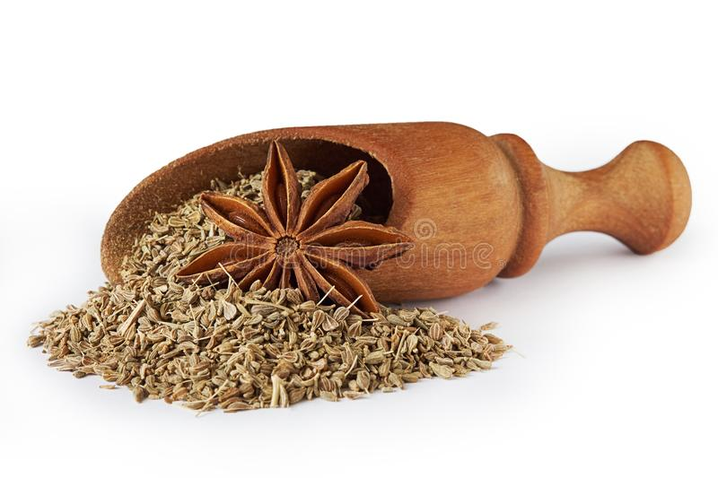 Star anise and anise seed stock images