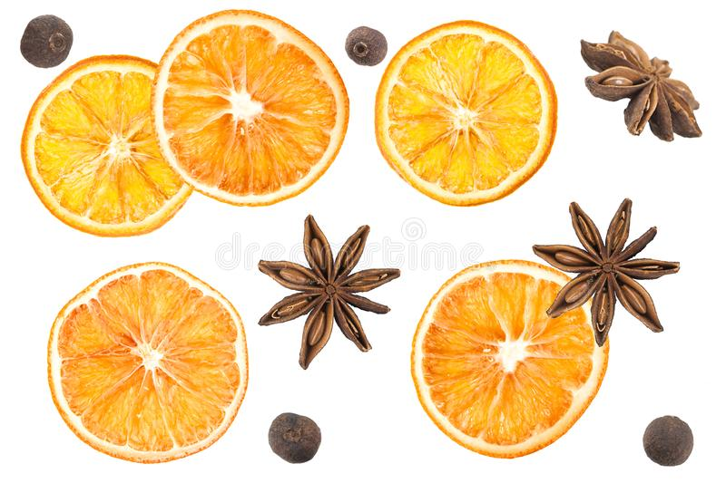 Star anise, black pepper, cinnamon, dried oranges and an apple on a white background. Dried oranges on a white background stock illustration