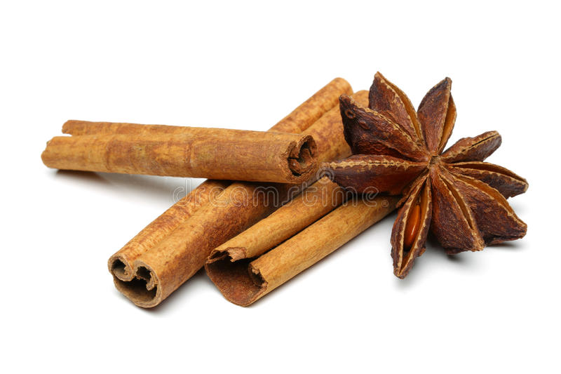 Star anise and cinnamon. Isolated on white background stock photos