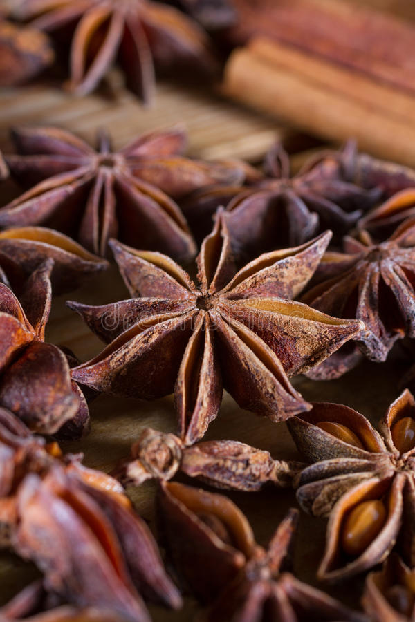 Star anise. Close-up on star anise spice. Macro shot. Copy space royalty free stock image