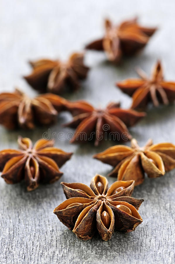 Star anise fruit and seeds royalty free stock images