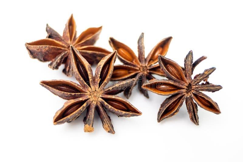 Star Anise, Illicium verum Hook Organische exotische kruiden en specerijen op de Solated White-achtergrond stock foto's