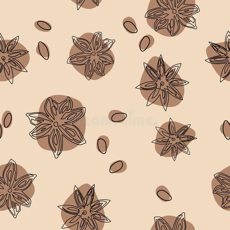 Star anise vector seamless pattern. Abstract pattern flat lay, top view. vector illustration