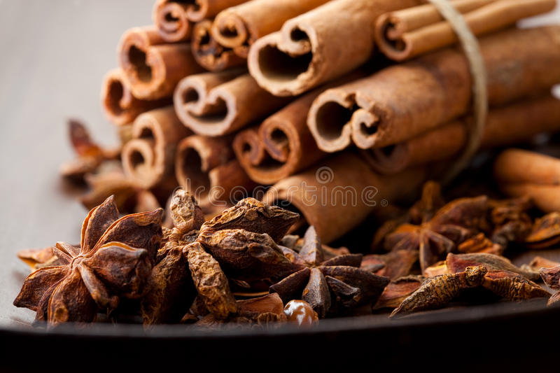 Star aniseed and cinnamon sticks royalty free stock photography