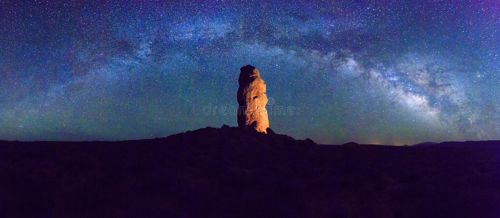Night sky panorama in the desert southwest, utah, USA. Star arch and Milky Way in the Utah desert USA royalty free stock photo
