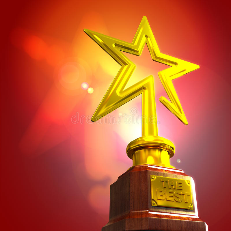 STAR AWARD. Against glow gradient background royalty free illustration