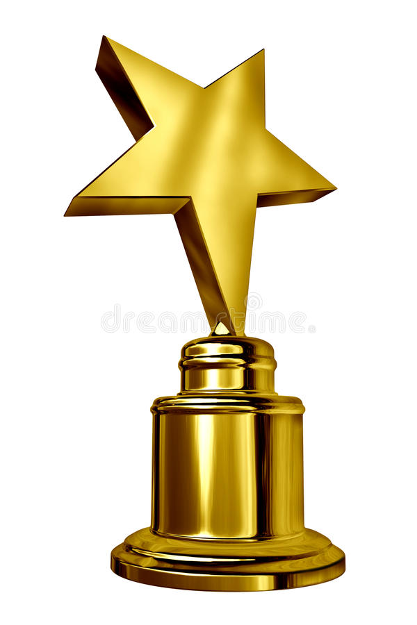 Star Award. Gold Star Award on a blank metal trophy isolated on white representing a golden first place prize as an icon of success and achievement of a sports stock illustration