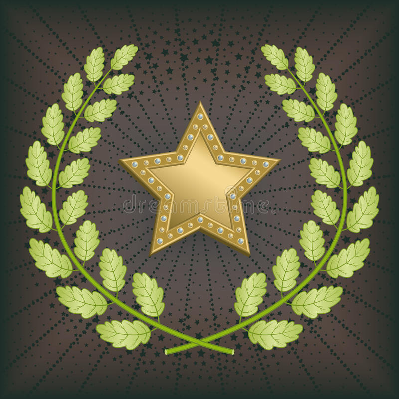 Star award. With green oak wreath on black background stock illustration