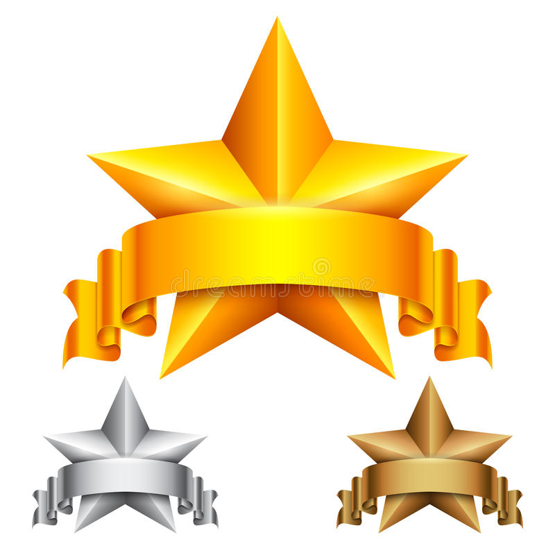 Star Award with Ribbon. Golden, silver and bronze star award icons with ribbons vector illustration