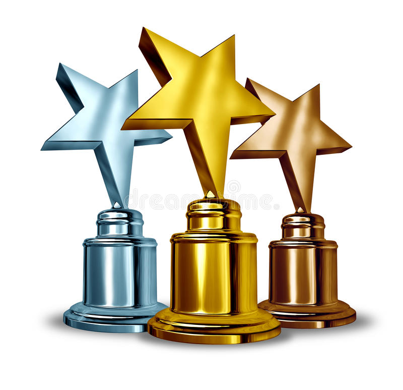 Star Award Trophies. Gold silver and bronze star trophies and trophy award as the best three winners in a competition as a symbol of achievement and stock illustration