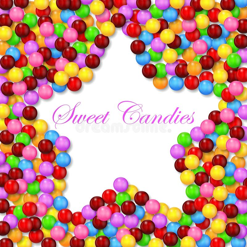 Star background with various sweet candy on frame stock illustration