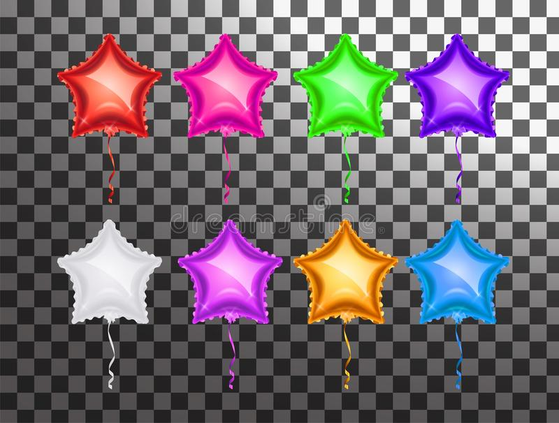 Star balloon colorful set on transparent background. Party balloons event design decoration. Balloons isolated air. Mockup for ba vector illustration