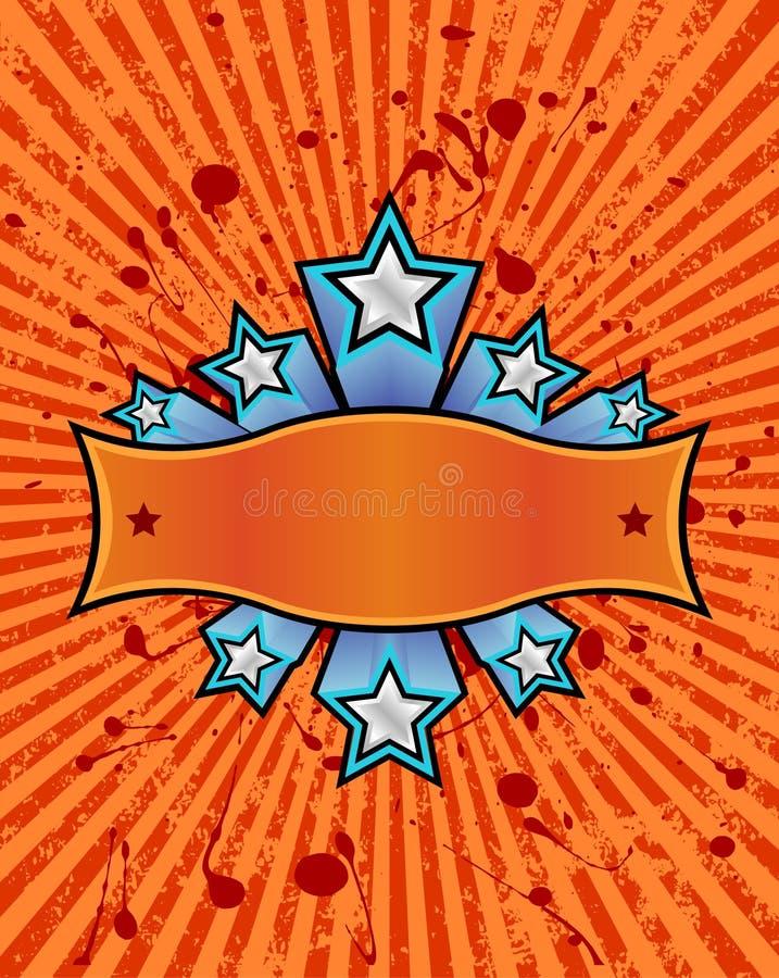 Star banner orange vector illustration