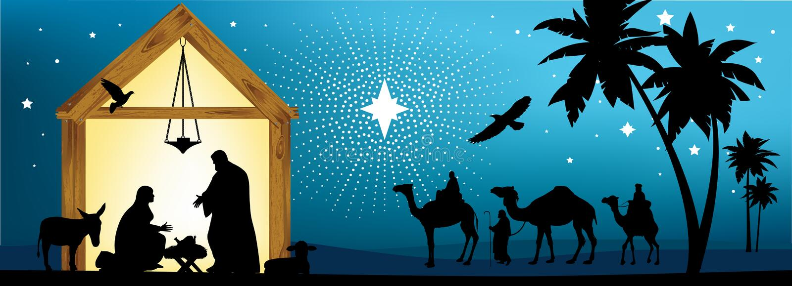 Star of Bethlehem. All elements and textures are individual objects. Vector illustration scale to any size