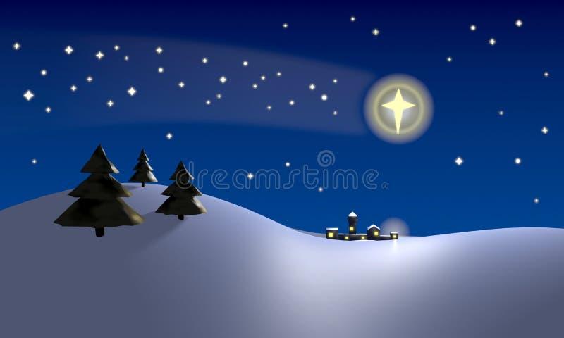 Star of Bethlehem. Christmas scene with the star of Bethlehem shining above the place where the baby Jesus Christ was stock illustration