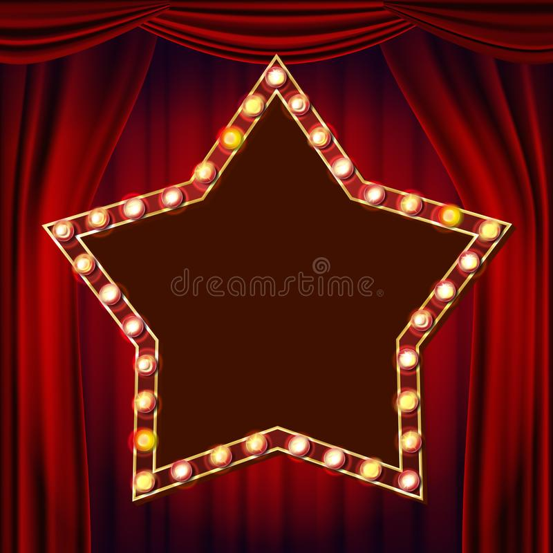 Retro Star Billboard Vector. Red Theater Curtain. Shining Light Sign Board. 3D Electric Glowing Star Element. Vintage. Star Billboard Vector. Red Theater Curtain royalty free illustration