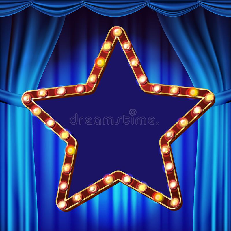 Retro Star Billboard Vector. Blue Theater Curtain. Shining Light Sign Board. Realistic Shine Lamp Frame. 3D Electric. Star Billboard Vector. Shining Light Sign stock illustration