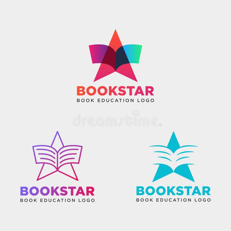 Star book education gradient negative simple logo template vector illustration icon element isolated. Vector file royalty free illustration