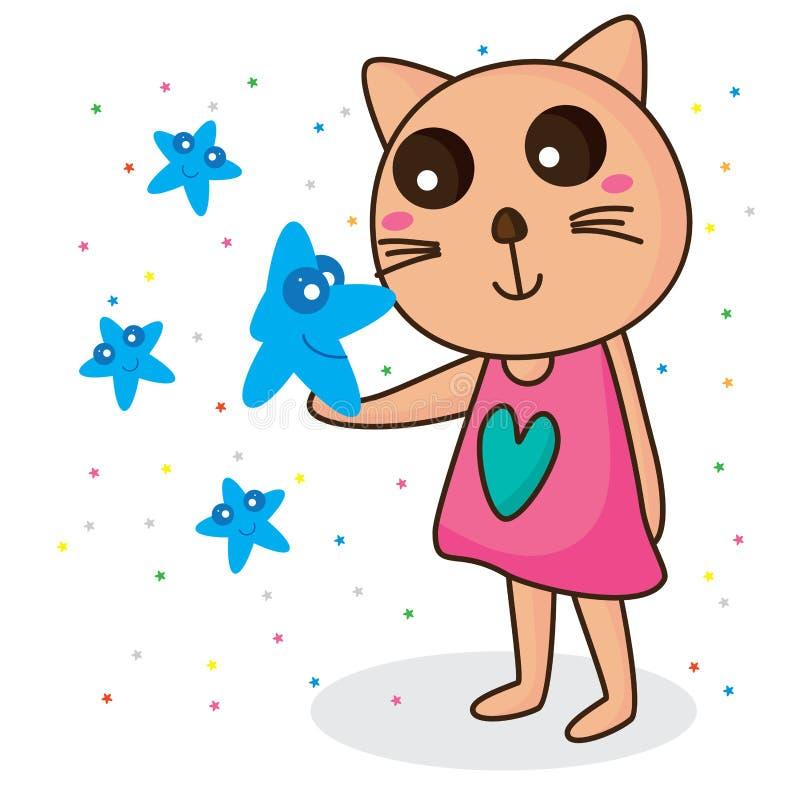 Star borrow smile cat vector illustration