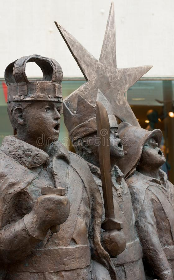 Star Boys Monument. Oulu, Finland. Star Boys Monument. Group consists of four characters: King Herod, King of Moors, Knight and Star Twirler, Oulu, Finland stock photography