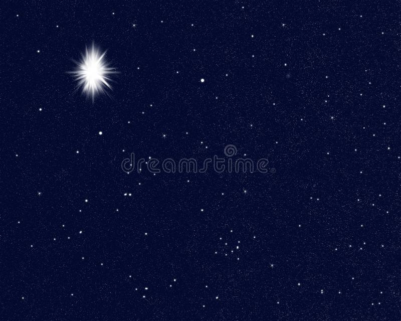 Star bright in the sky indicating the birth of Jesus Christ, christmas. vector illustration