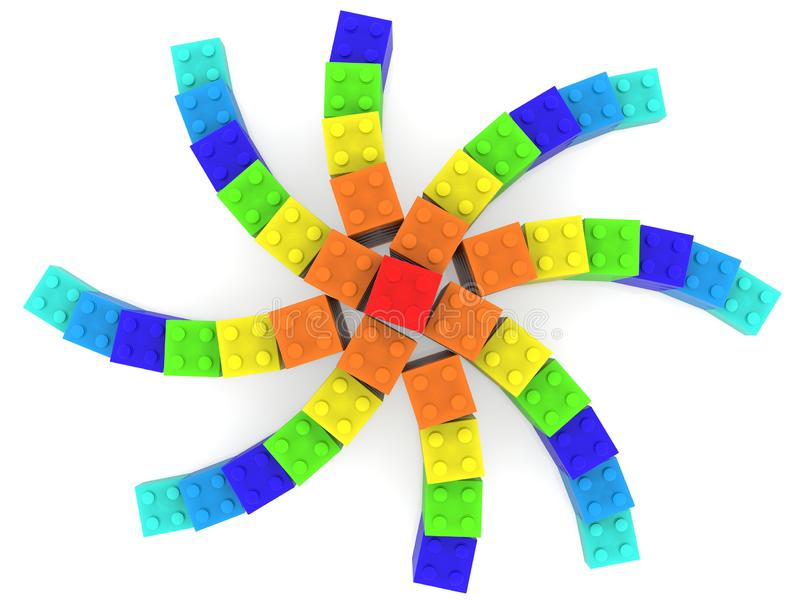 Star built from toy bricks in various colors on white background royalty free illustration