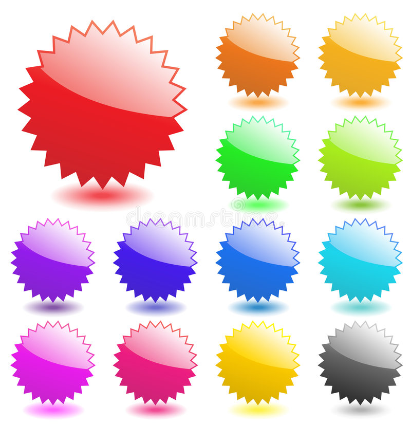 Free Star Burst Badge Vector Flash Starburst Sticker Price Glossy Icon Set Sale Tag Blank Design Label Element Button Shape Empty Sign Royalty Free Stock Photo - 9354145