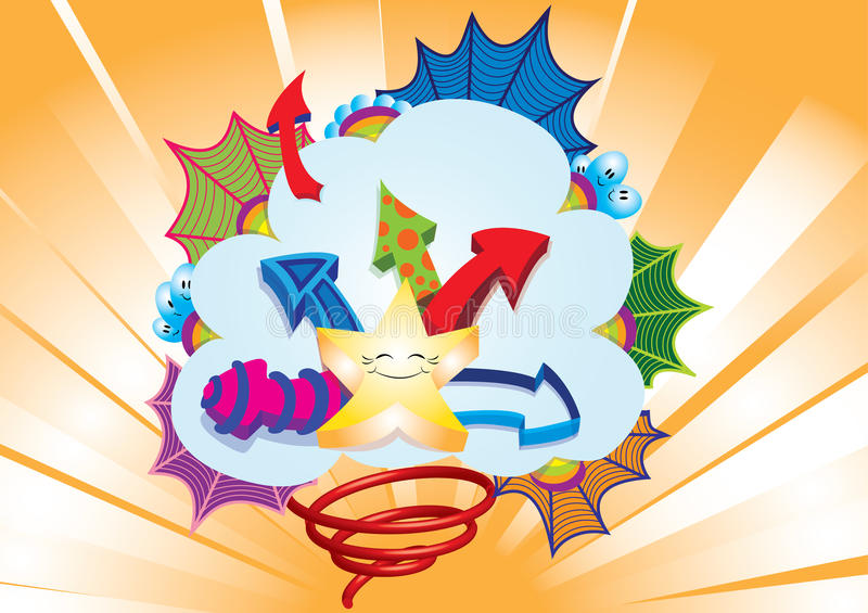 Download Star Burst In A Clowd With Arrows And Webs Stock Illustration - Illustration of colorful, celebration: 28600977