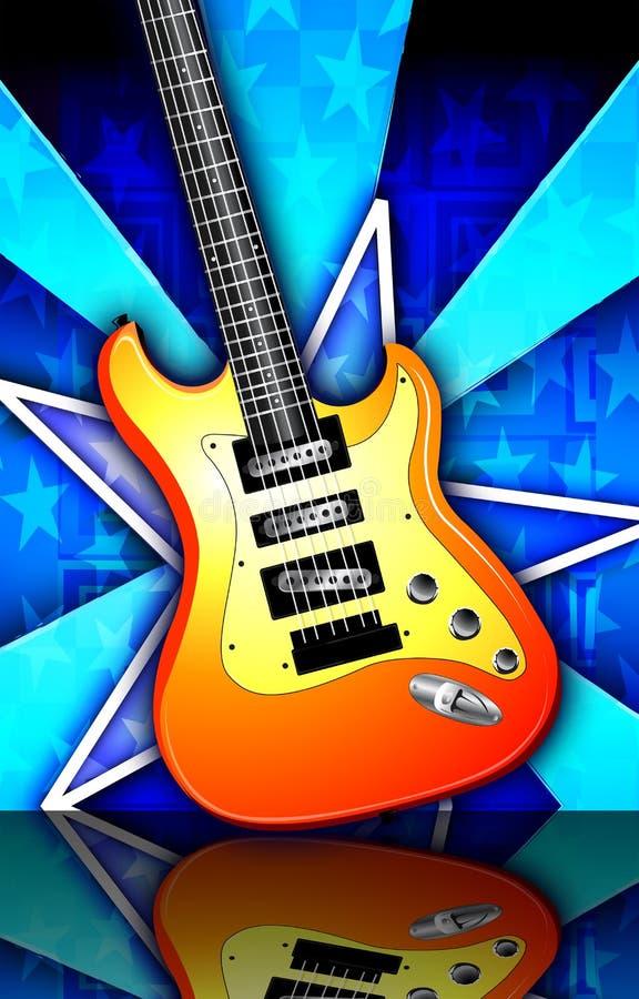 Star Burst Orange Rock Guitar Illustration royalty free stock images
