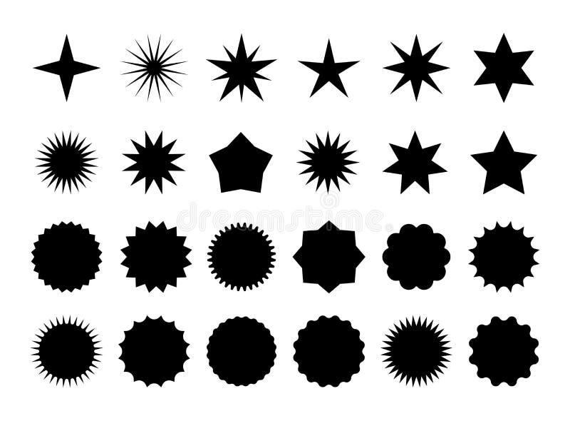 Star burst sticker set. Black flat price tags explosion silhouettes, starburst retro sale badge. Vector illustration. Star blank label, stickers emblem on white royalty free illustration