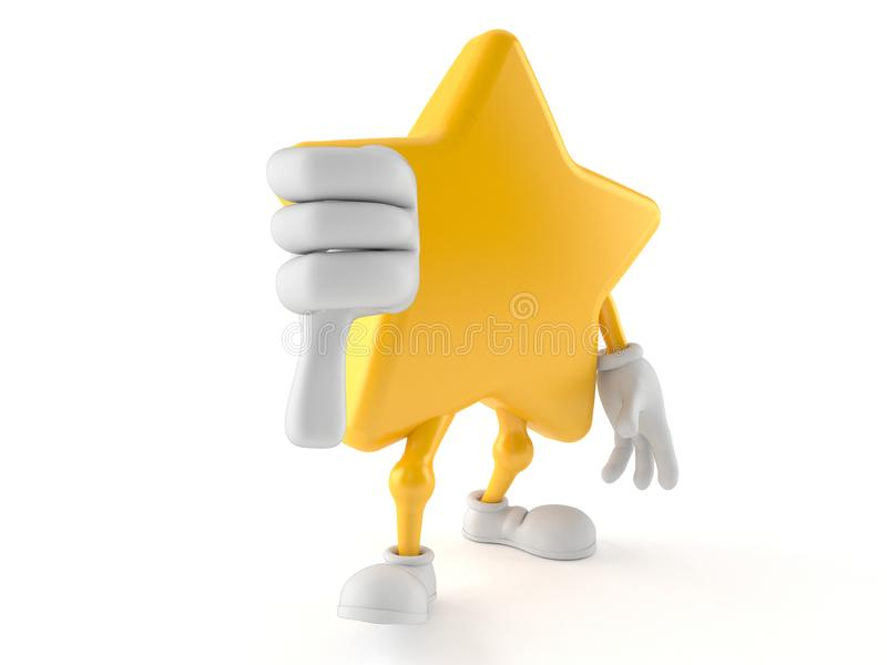 Star character with thumb down. Isolated on white background. 3d illustration royalty free illustration