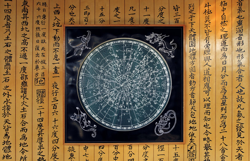Star chart. Several hundred years ago, star chart and astronomy works written which the Chinese drew royalty free illustration
